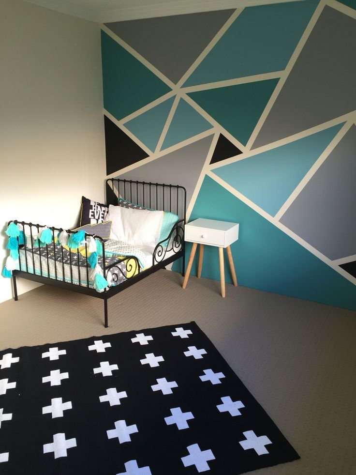Beautiful funky geometric designs paint wall boy room - Google Search wall painting ideas for bedroom