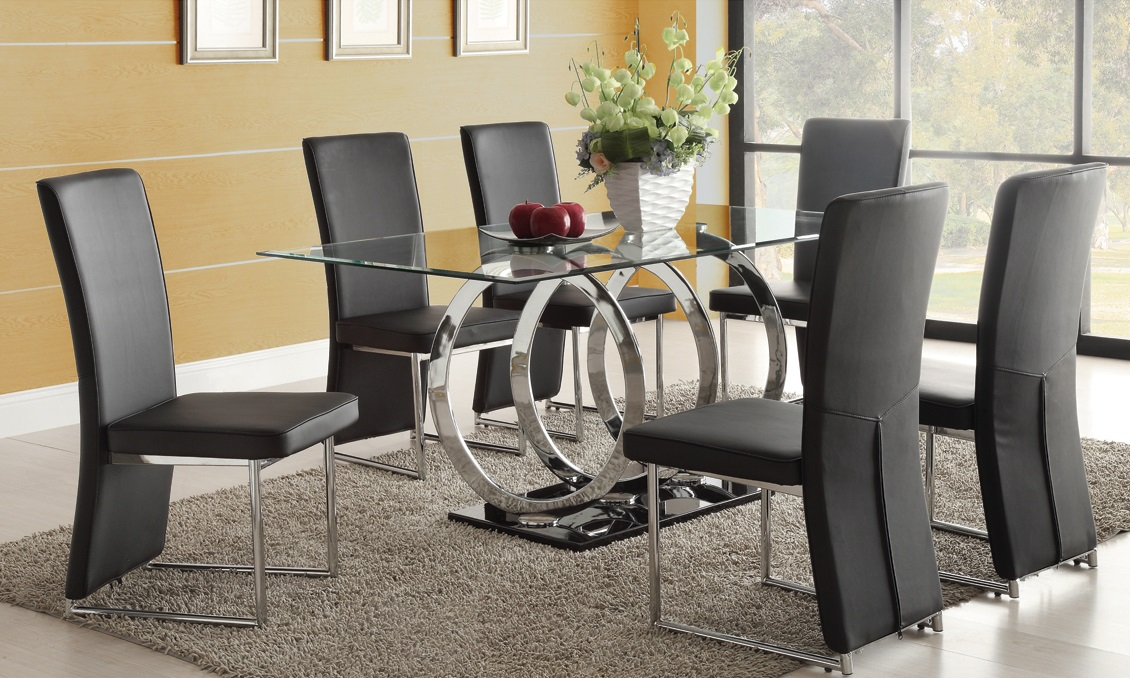 Enhance your kitchen with some best glass dining room sets for Glass dining room table set
