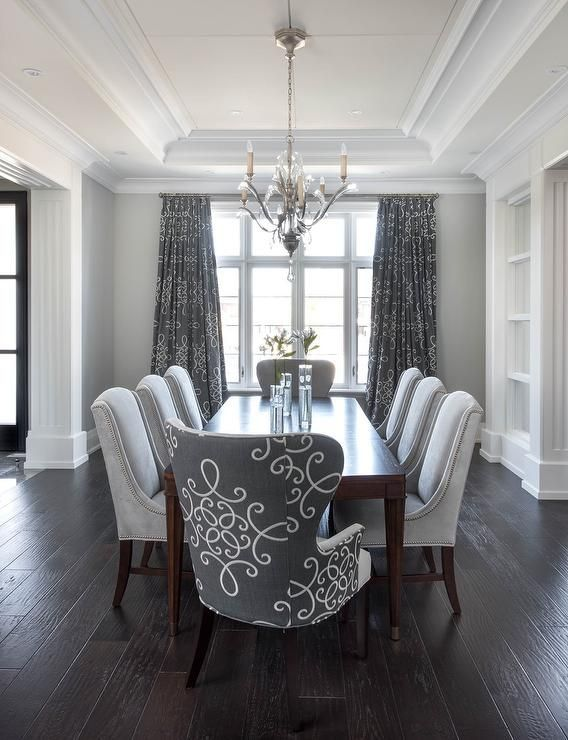 Beautiful Gray Dining Room With Gray Medallion Curtains   Transitional   Dining  Room Dining Room Decoration