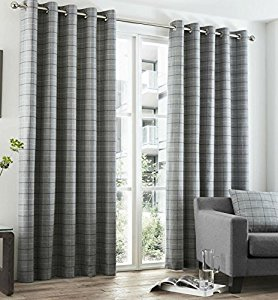 Beautiful GREY TARTAN Check Curtains Highland Charcoal Slate EYELET Ring Top This grey tartan curtains