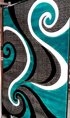 Beautiful Hand Carved Turquoise Blue Area Rug Carpet Contemporary Modern Abstract ~ turquoise blue area rugs