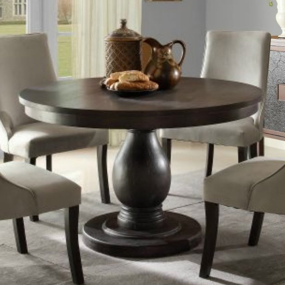 Beautiful Homelegance Dandelion Round Pedestal Dining Table in Distressed Taupe round pedestal dining table