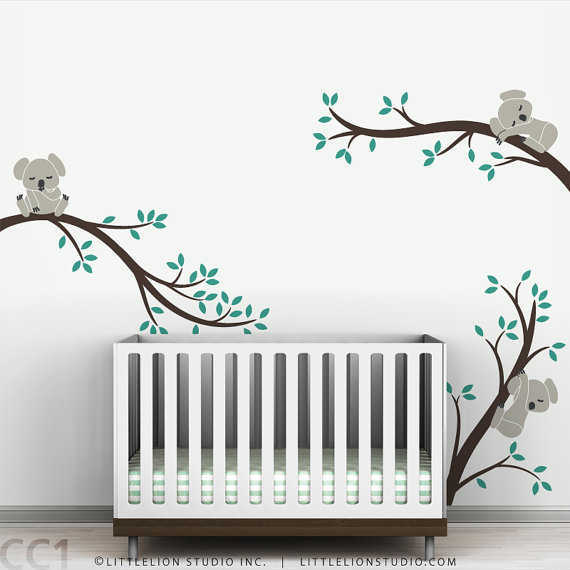 Beautiful Koala Baby Nursery Wall Decal Koala Tree Wall Decal for Sleepy Mood baby bedroom wall stickers