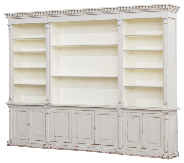 Beautiful Laundress French Country Distressed Grey Large Display Bookcase traditional- bookcases large wooden bookshelf