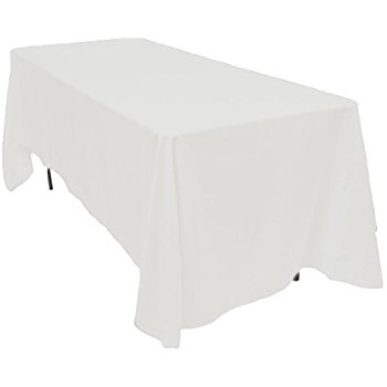 Beautiful LinenTablecloth 70 x 120-Inch Rectangular Polyester Tablecloth White white linen table cloths