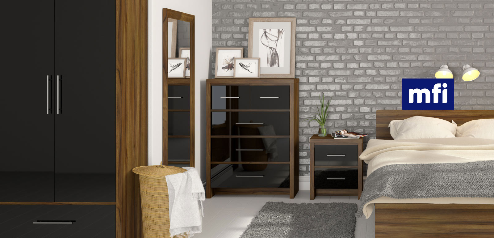 Beautiful London Walnut and Black Gloss Bedroom Furniture walnut black gloss bedroom furniture