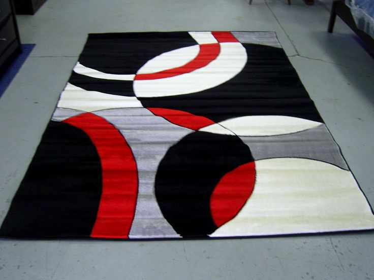 Beautiful Modern Red Black White Pile Cut Design 5x8 Area Rug Carpet NEW #Modern red black and white area rugs