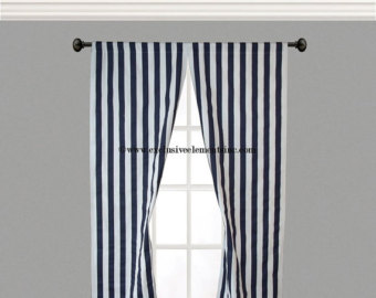 Beautiful Navy Stripe Curtain Panels Navy Blue Curtains Drapery Window Treatments Set  Pair navy blue and white curtains
