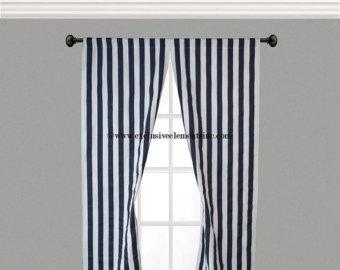 Beautiful Navy Stripe Curtain Panels Blue Curtains Drapery Window Treatments Set Pair And