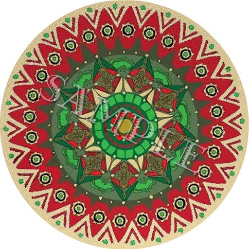 Beautiful Rug (Red Christmas Rose) round christmas rugs