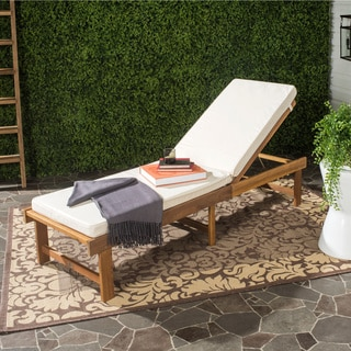 Beautiful Safavieh Outdoor Living Inglewood Brown Acacia Wood Beige Cushion Lounge  Chair wood chaise lounge outdoor