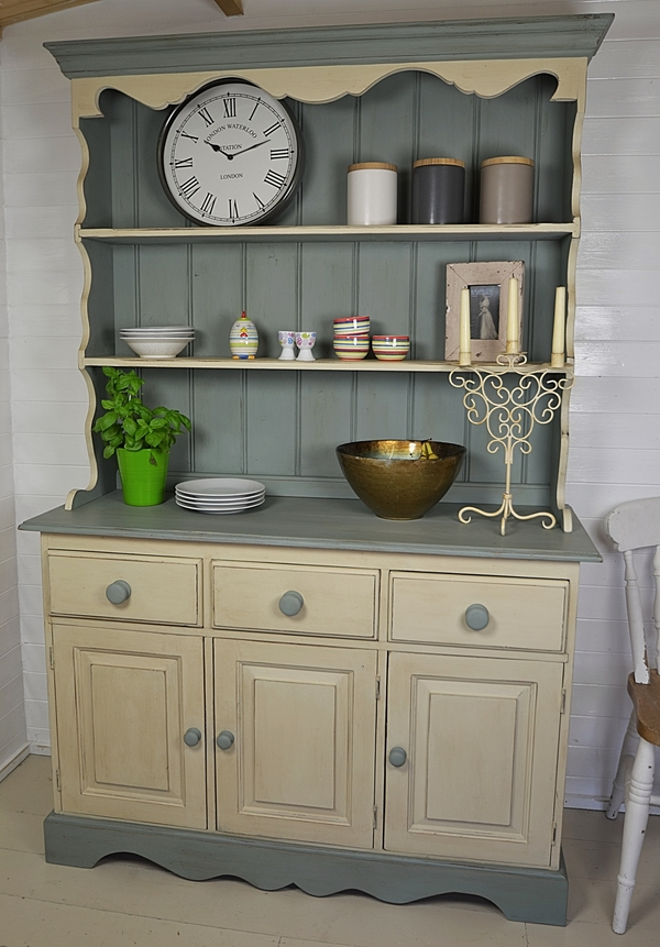 Beautiful Shabby Chic 3 Door Welsh Dresser artwork AS duck egg blue and welsh dresser shabby chic