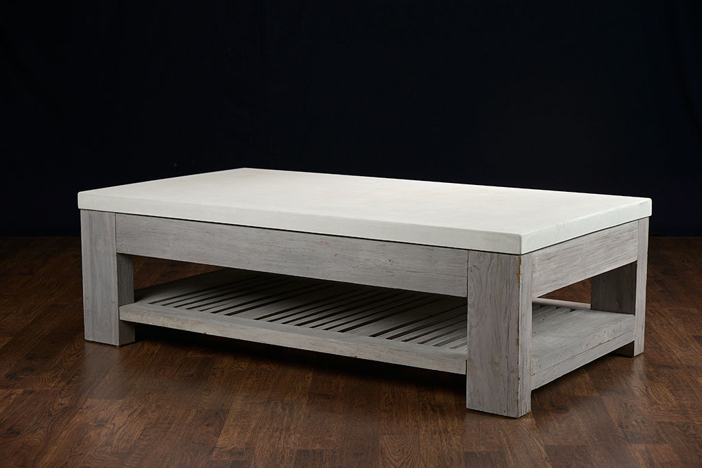 Beautiful Slatted Teak and Concrete Outdoor Coffee Table outdoor concrete coffee table