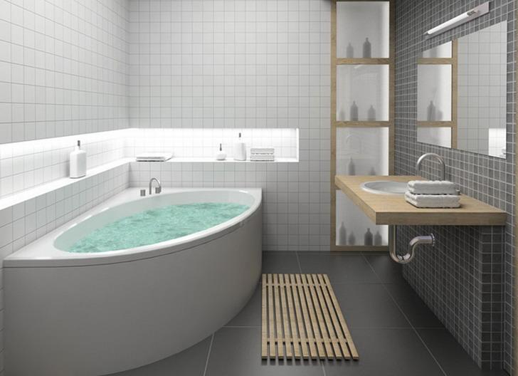 Beautiful Small Bathroom Idea Corner Bathtub.. love the tiles. baths for small bathrooms