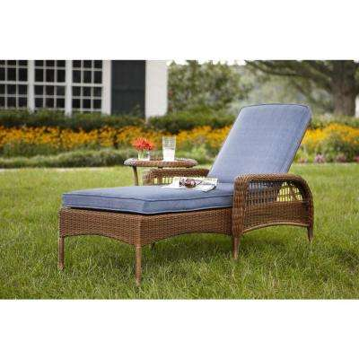 Beautiful Spring Haven Brown All-Weather Wicker Patio Chaise Lounge with Sky Blue patio lounge chairs