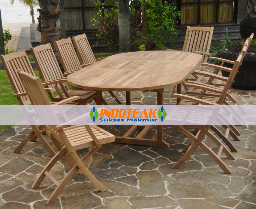 Beautiful Teca Ovalada Sets folding wooden garden furniture sets
