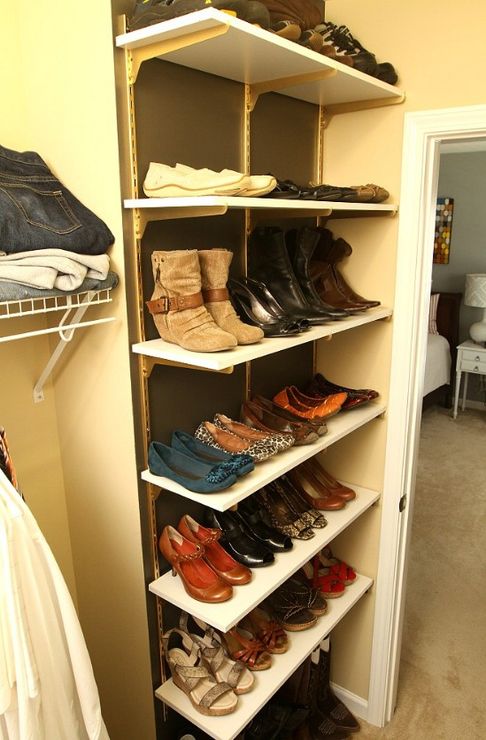 Beautiful Turn Shelves into Organizers small closet shoe storage