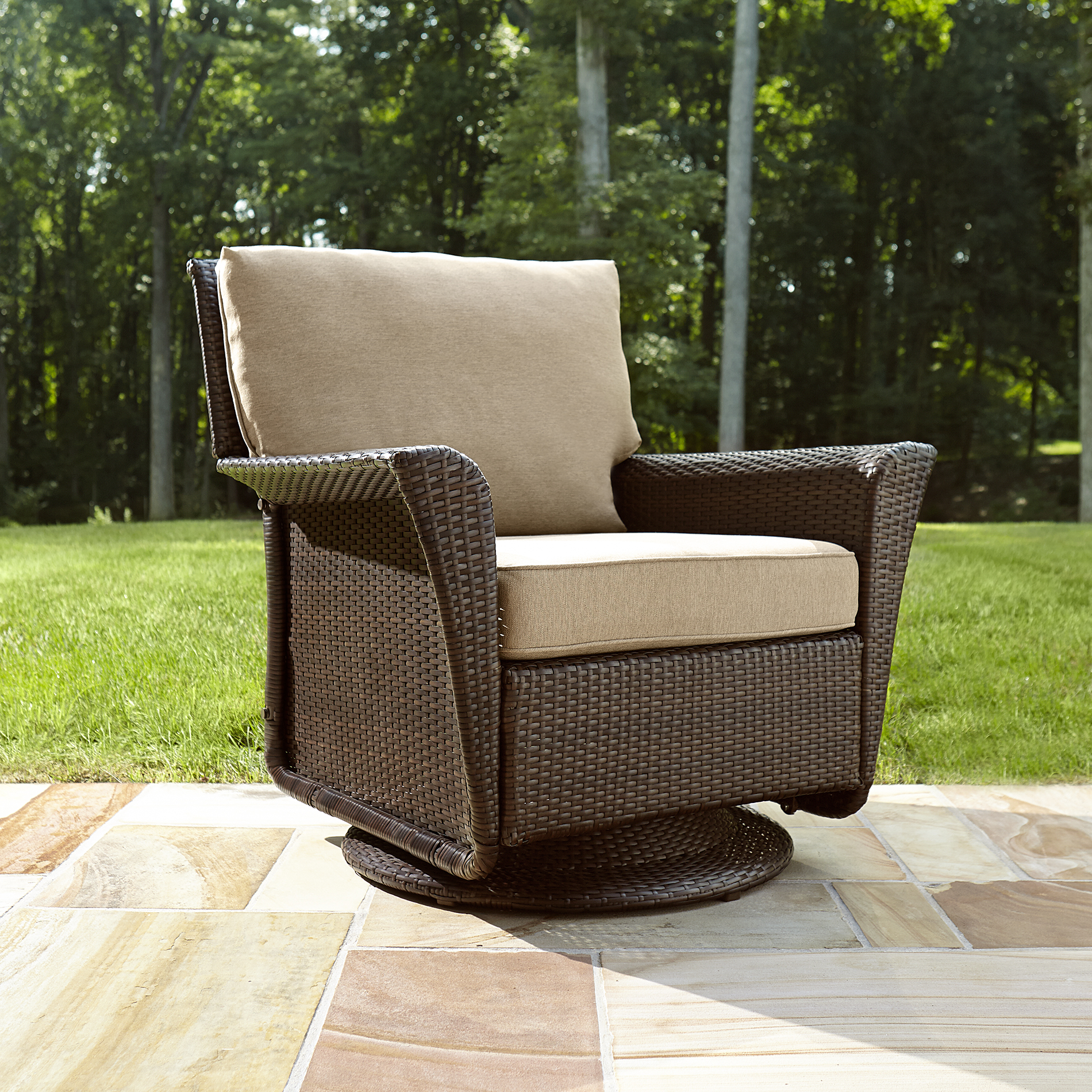 Delightful Beautiful Ty Pennington Style Parkside Swivel Outdoor Chair In Tan   Sears  Swivel Glider Patio Chairs