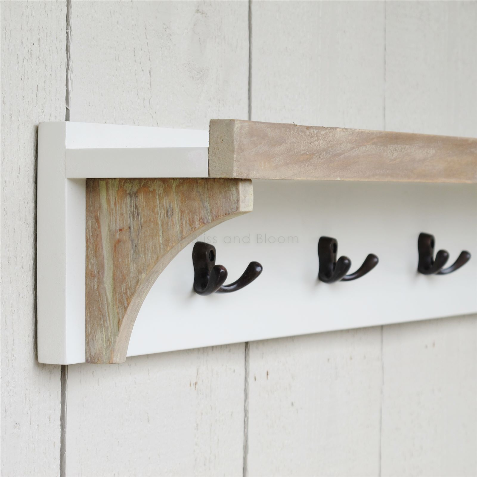 Beautiful Vintage Shelves With Hooks : Antique white wooden shelf with 5 hooks white wooden shelves