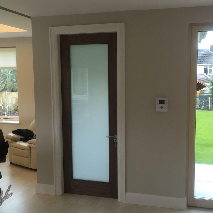 Beautiful Walnut internal door with frosted glass glass bathroom doors