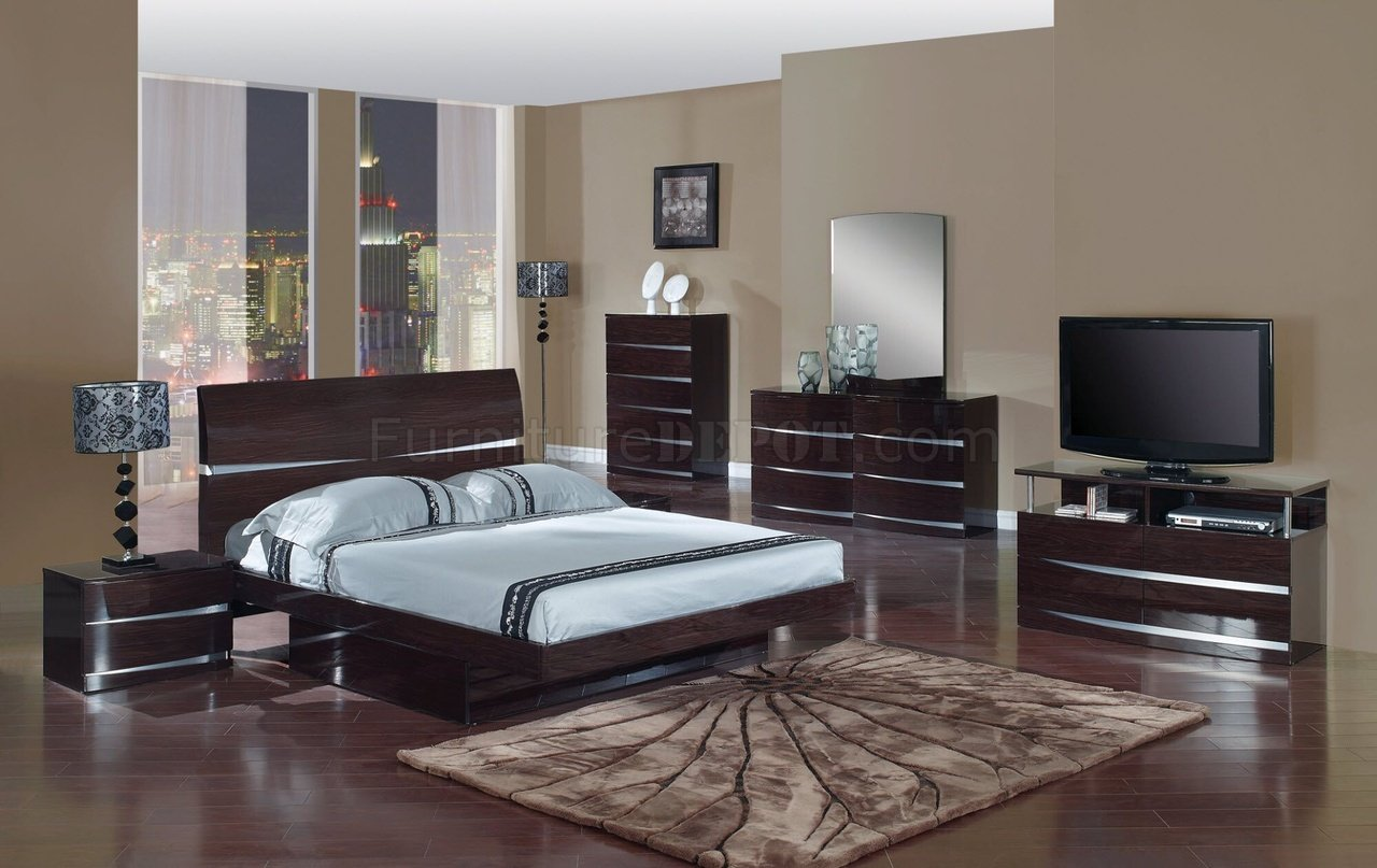 Beautiful Wenge Finish Modern Stylish Bedroom Set w/Optional Casegoods modern bedroom furniture sets