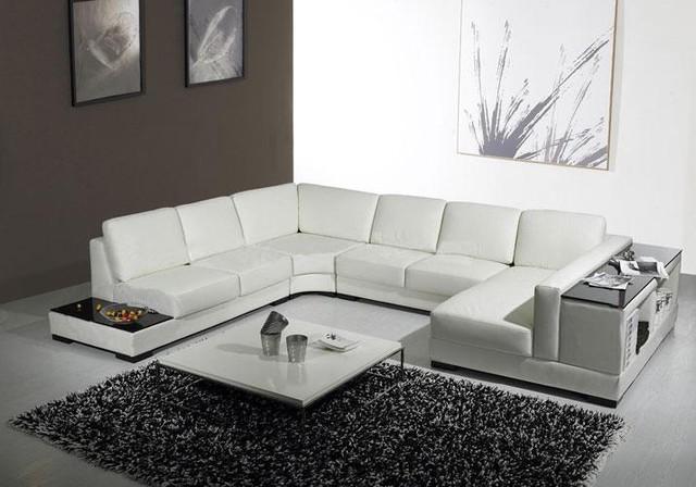 Beautiful White Leather U Shaped Sectional Sofa with Storage modern-living-room u shaped leather sofa