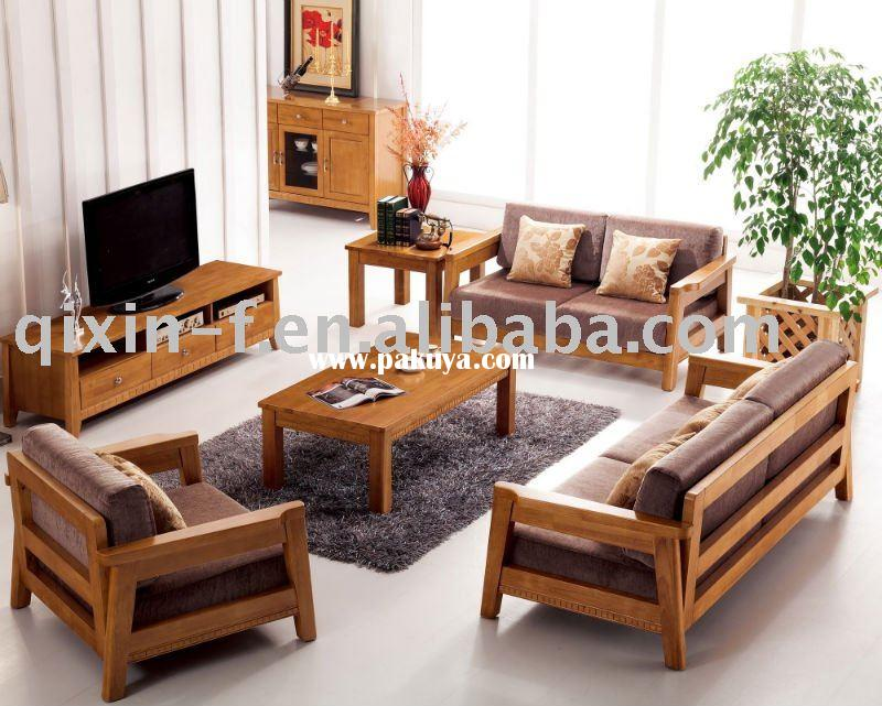 Beautiful wooden living room sofa F001-2 More modern wooden sofa sets for living room