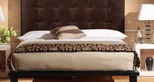 Contemporary Solide Queen Platform Bed- Vintage Brown Leather bed leather headboard