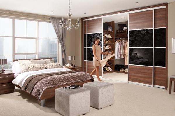 Luxury Sliding doors for space saving walk-in closet design, small bedroom ideas bedroom with walk in closet