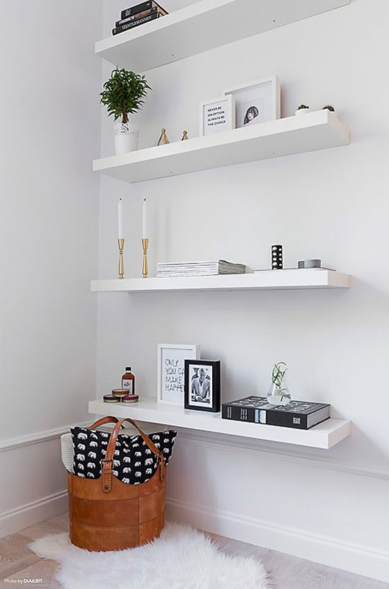 Best A chic 42 spm apartment in Sweden white floating shelves