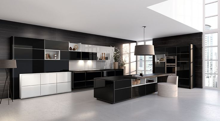 Best AlnoSara www.alno-usa.com Black and white glass kitchen cabinets. | Alno  Kitchens | alno kitchen cabinets