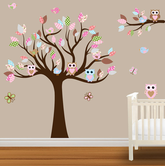 Best Baby Nursery. Cute And Admirable Wall Decals Such Like Brown Big Tree With baby bedroom wall stickers