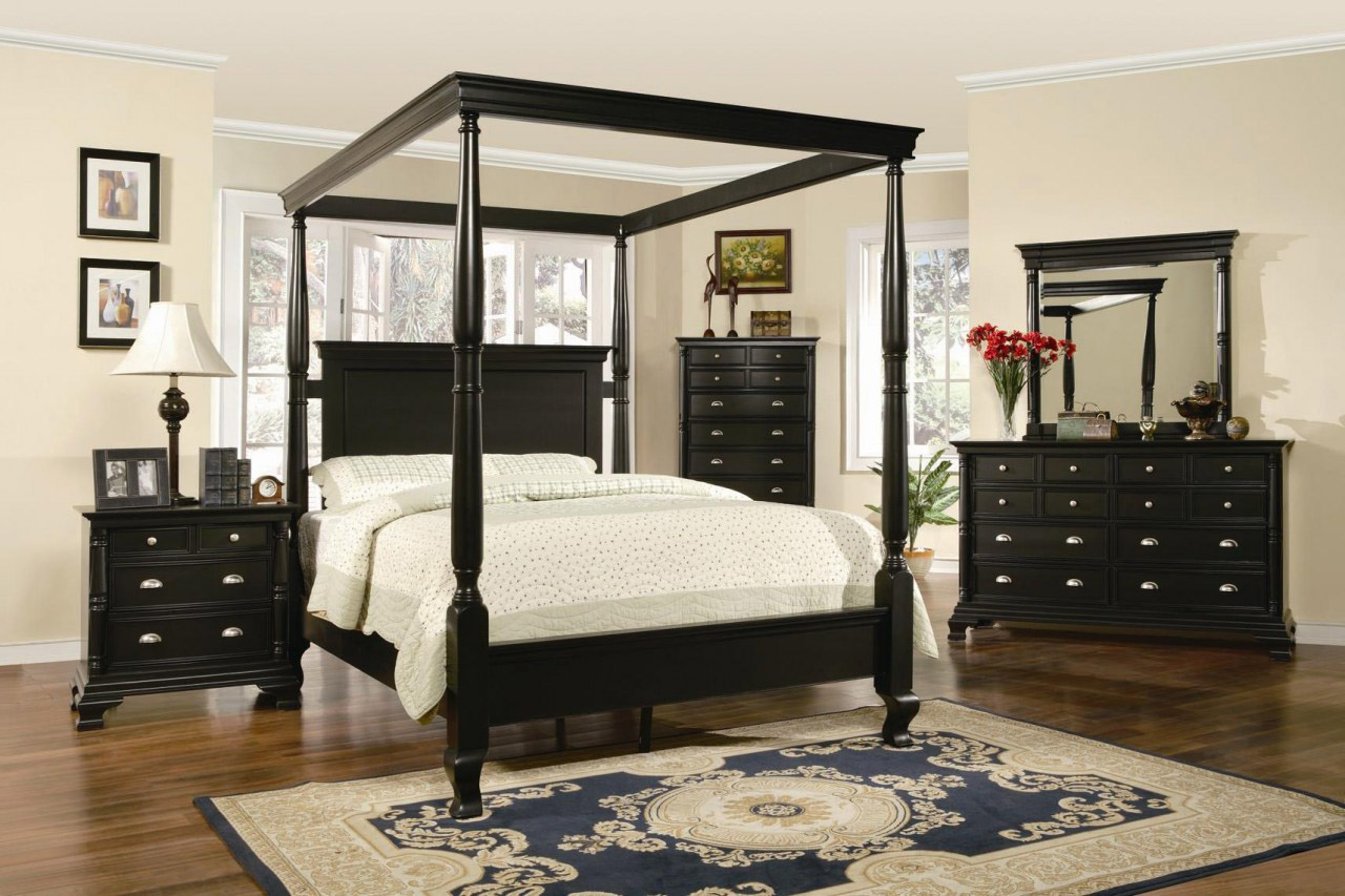 Best Brown Wooden Canopy Bed With Black Leather Head Board Bined King Size  Bed Black King