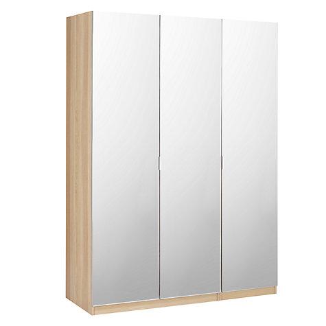 Best Buy House by John Lewis Mix it Mirrored Triple Wardrobe, Natural Oak Online triple mirrored wardrobe
