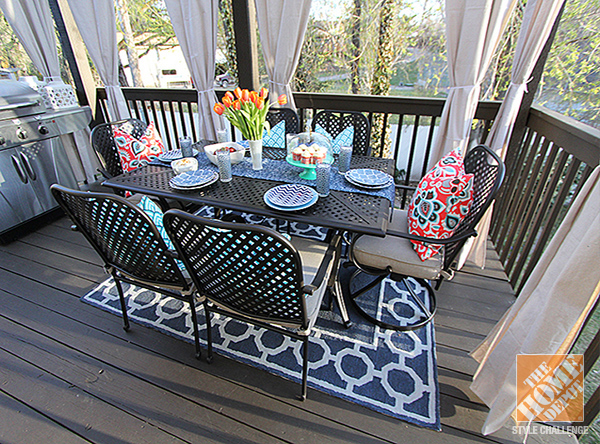 Best Deck Decorating Ideas: Hampton Bay Fall River Outdoor Dining Set and an outdoor rugs for decks and patios