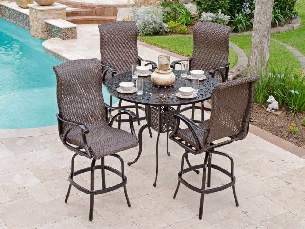 Best Elegant Patio Swivel Chairs Bar Height Set With