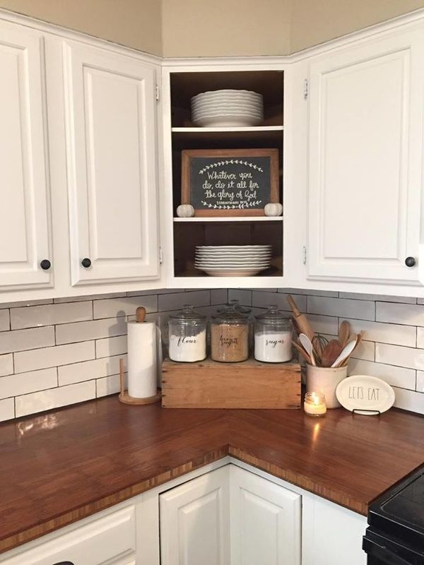 Best Farmhouse kitchen, butcher block, subway tile, open cabinets, kitchen  counter decor, decorating ideas for kitchen counters