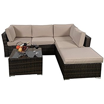 Best Giantex 4pc Patio Sectional Furniture Pe Wicker Rattan Sofa Set Deck Couch rattan sofa set