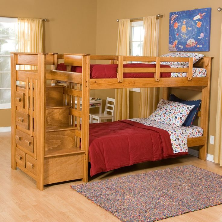 Best Heartland Twin Over Twin Bunk Bed with Stairs - Kids Storage Beds bunk beds for kids with stairs