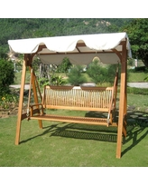 Best International Caravan Royal Tahiti 3 Seater Patio Swing with Frame and  Canopy patio swing canopy