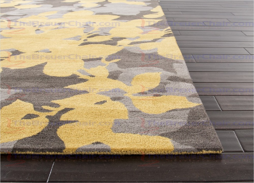Best Jaipur Blue Orchid Hand-Tufted Floral Pattern Wool Yellow / Gray Area Rug yellow grey area rug