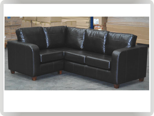 Best ... Milano 2x3 corner sofa set - Black faux leather (1BC2B) ... black faux leather corner sofa