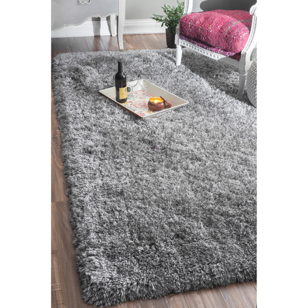 Best nuLOOM Handmade Soft and Plush Solid Grey Shag Rug (7u00276 x 9u0027 soft plush area rugs