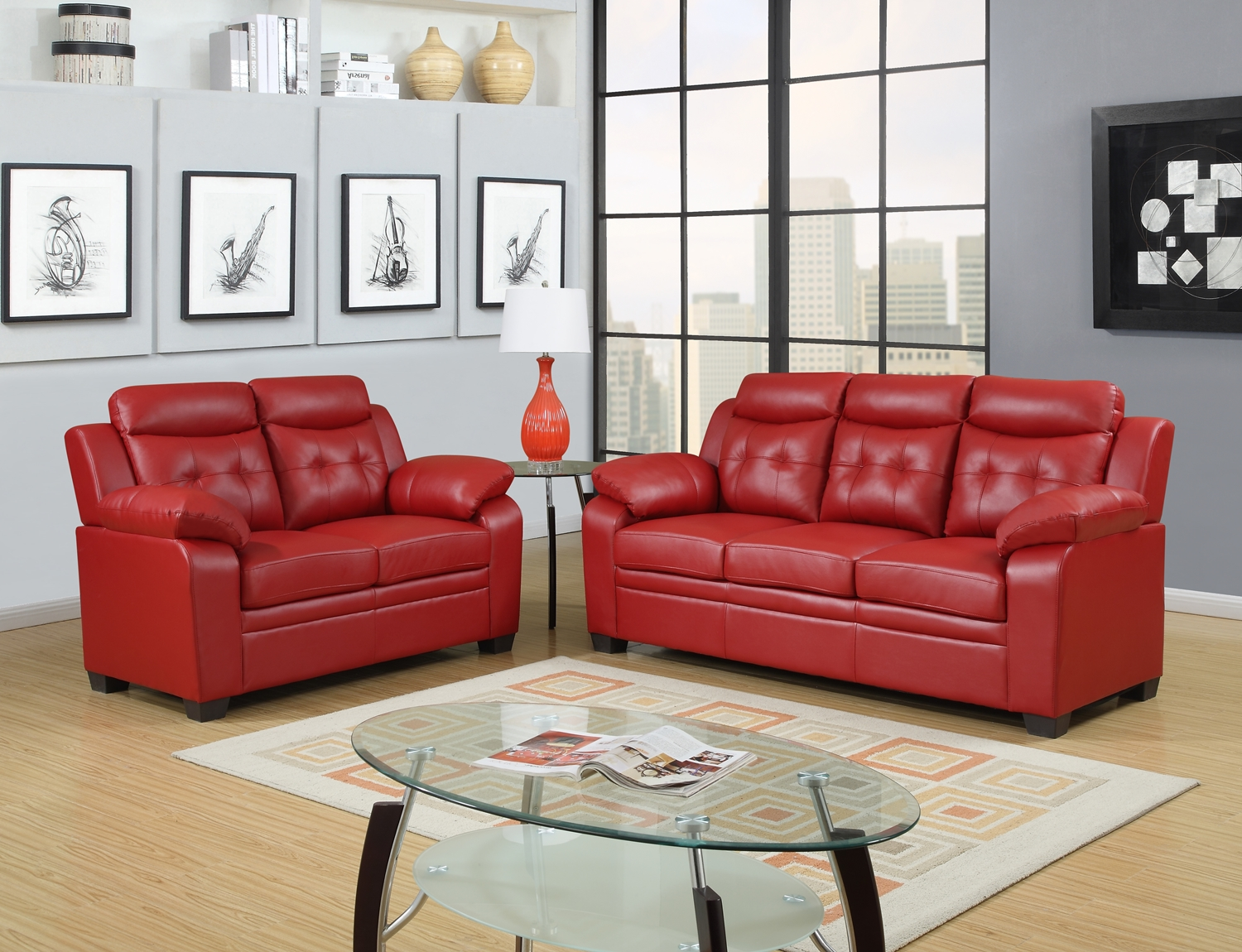 Best Red Apartment Sized Casual Contemporary Bonded Leather Living Room Sofa Love Set