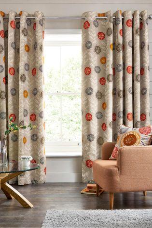 Best Retro Floral Print Eyelet Curtains next retro floral curtains