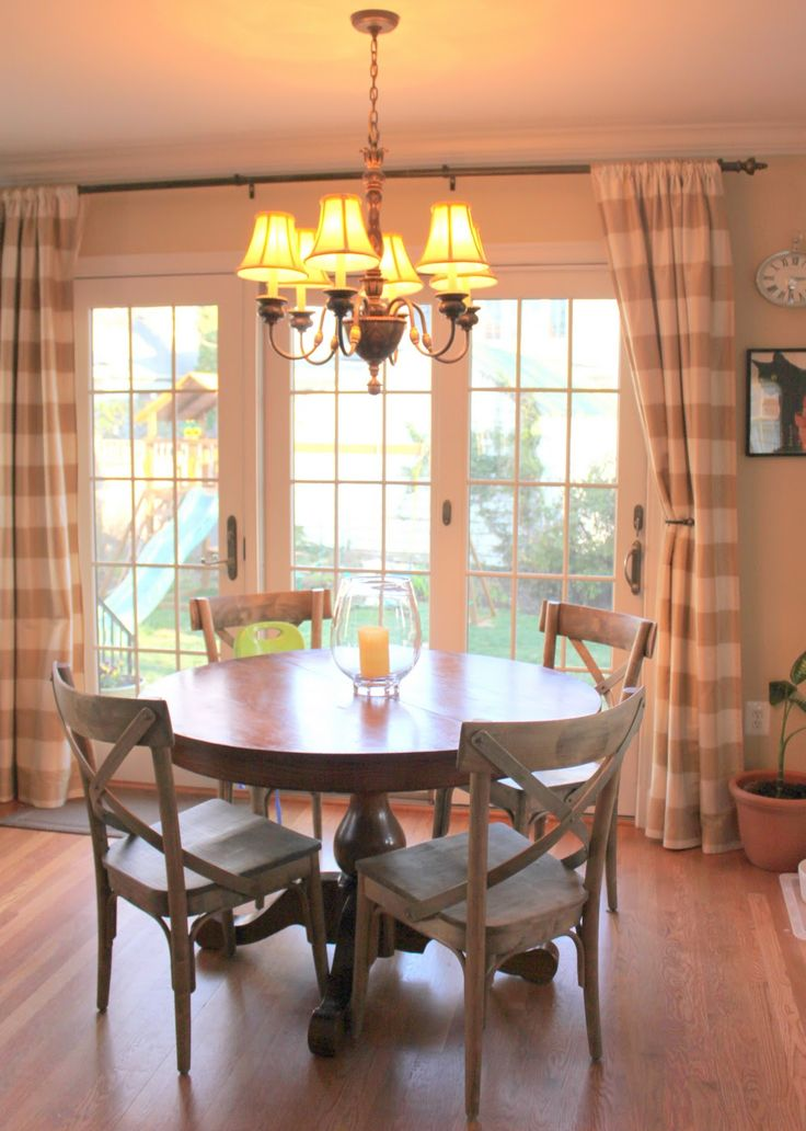 Best sliding glass door curtain ideas...love the country chairs and the curtains! curtains for sliding glass door