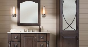 Best Style Three coordinated bath furniture shown with Bella door style in  Cherry bathroom vanity and linen cabinet sets