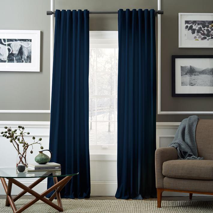 Best Velvet Pole Pocket Curtain - Regal Blue | west elm blue velvet curtains