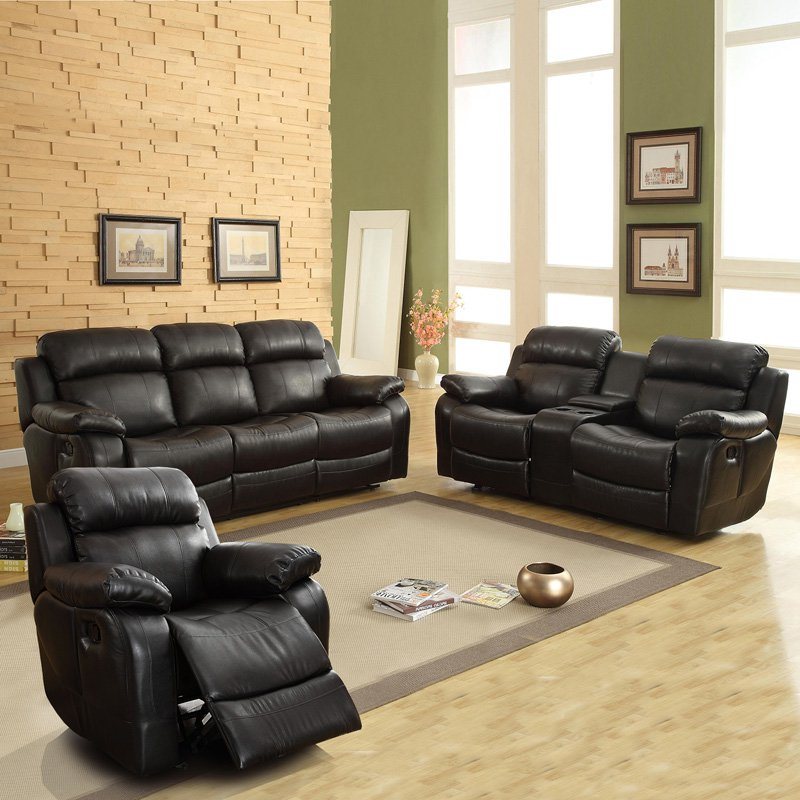 Best Weston Home Darrin Leather Reclining Sofa Set with Console - Black leather reclining sofa set