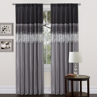 Beautiful Lush Decor Black/Grey Faux Silk 84-inch Night Sky Curtain Panel by Lush black and silver curtains